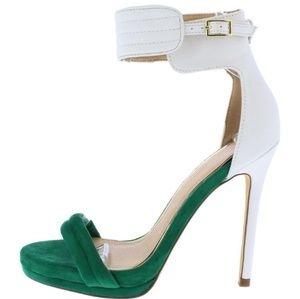 Women $Money$ Green & White Stilettos Sexy Heels